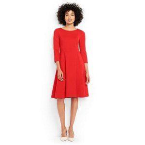 Petite Ponte Knit 3/4 Sleeve Flounce Dress, NWOT